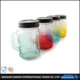 vaso di muratore di vetro del vaso di 350ml Subtransparent con la maniglia e la paglia