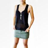moda, ropa de algodón Negro Tank Top Mujeres prendas de moda