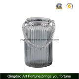 Vaso/vaso di vetro del Mercury della maniglia della iuta per la decorazione domestica del giardino
