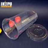 Zoll gedrucktes freies transparentes Wegwerf-pp.-Plastikcup mit Kappe