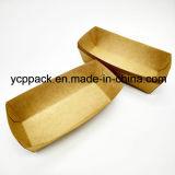 Papel Kraft en Color Natural desechables envases de alimentos de la bandeja de patatas fritas chips