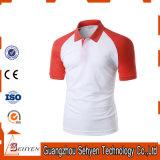 Esportes à moda do logotipo do tipo vermelhos e Tshirt branco do polo do algodão