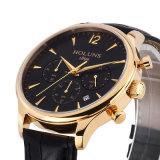 Relógio de pulso impermeável genuíno material Relogio de quartzo do cronógrafo da tâmara da cinta de couro da safira luxuosa dos homens masculino