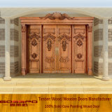 贅沢な骨董品によって切り分けられる木製のドア4の葉の出入口(XS1-018)