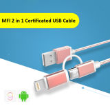 Kabel 2 van de Levering van de fabriek Kleurrijke Nylon Gevlechte in 1 Het Laden van usb- Gegevens Kabel voor iPhone of Androïde