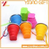 アマゾン旅行(XY-SC-003)のための熱い販売キャンデーカラー食品等級のシリコーンのFoldableコップ