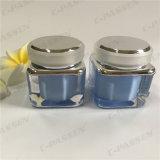Frasco de creme acrílico azul do quadrado 30g para o empacotamento do cosmético (PPC-ACJ-078)