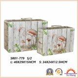 나무로 되는 고대 여행 가방 저장 상자 선물 상자
