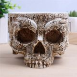 Planta Decorativa Flowerpot Hand Carved Resin Human Skull Pot Home