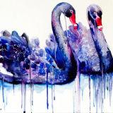 손으로 그리는 백조 사무실 훈장을%s 화포 Handmade 색칠에 우아한 섹시한 자주색 파랑 2 한 쌍 백조 동물성 유화