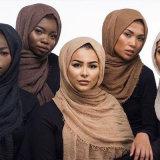 نساء فقاعات سهل تجعّد [هيجب] وشاح مع أهداب شعبيّة مسلم كاتم صوت شاش لفاف [بشمينا] كبيرة ([سو104])