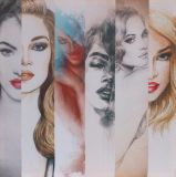 De hete & Sexy Meisjes van de Schoonheid met Druk de Van uitstekende kwaliteit van het Canvas met schitteren