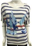 Maglietta allentata di svago per le donne con stampa a strisce