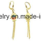 La joyería de Shineme fija el espárrago plateado oro del oído de la manera con el colgante con la piedra negra (ERS6999)