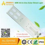 Ahorro de energía de alto brillo IP65 60 vatios LED luz de calle solar