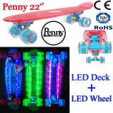 mini mini planche à roulettes de clignotement en plastique de croiseur du panneau 22inch