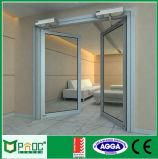 Portello scorrevole del blocco per grafici nero di alluminio con doppio vetro Tempered (PNOC224SLD)
