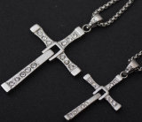 형식 종교적인 다이아몬드 십자가 펀던트 목걸이 티타늄 스테인리스 보석