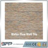 Supporto di colore giallo di disegno della parete e mattonelle rosse della parete del granito di tramonto con la spaccatura ed il rivestimento lucidato