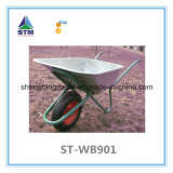 Pneumatic Solid Wheel를 가진 Galvernized 또는 Coating Metal Tray Wheelbarrow