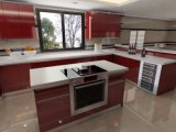 Cozinha de luxo verniz brilhante personalizada de armários de cozinha