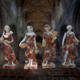 Hand geschnitzte Hahn-rote Vierjahreszeitendame-Göttin-Abbildung Marmorstatue-Skulptur