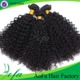 Человеческие волосы черного обильного Kinky курчавого Монгол развевая