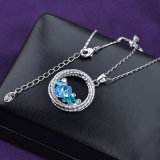 Collar pendiente redondo cristalino de la joyería de la manera del azul de cielo para las señoras
