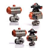 2 robinet à tournant sphérique de voie de l'actionneur pneumatique 3 d'acier inoxydable d'amorçage de pouce