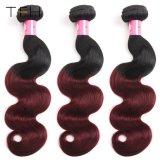ブラジルのバージンのHuaman Omberの毛の織り方1b/99jバーガンディ赤いボディ波のRemyの毛の拡張2調子の毛(TFH18)