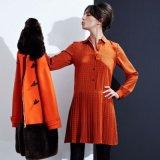 Бутик высокого качества печати Gingham шелкового платья рубашки смеси