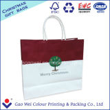 Sac de transporteur blanc de cadeau de sac à provisions de papier d'emballage pour l'emballage