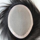 Remy Hair Toupee aux cheveux avec une base de peau mince