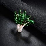 중국 Wholsale 화이트 골드 도금된 Vatagtable 녹색 사기질 브로치