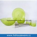 Insieme di vetro di tessitura della ciotola di insalata del pranzo