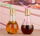 최신 판매 램프 모양 밀짚을%s 가진 유리제 음료 병