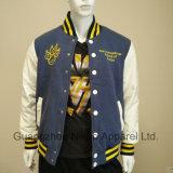 가죽은 단추 면 공을 세운 운동선수 Varsity 재킷을 아래로 소매를 단다