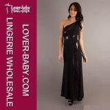 Schwarzes Schulter-Frauen-Abend-Kleid der Partei-eine (L5009)