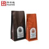 Film mat à fond plat de sac de café avec fermeture à glissière