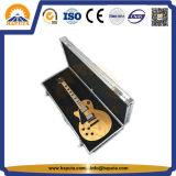 Caso de instrumentos musicais em alumínio prateado para armazenamento de guitarra