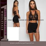 Novo Design Lady Black Halter Tanque Recortada Tops (TSN0131)