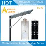 Luz de rua solar Integrated do diodo emissor de luz 50W do poder superior com a HOME do sensor de movimento que ilumina a lâmpada de parede ao ar livre