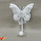 Triple metal blanco antiguo ganchos mariposa para Wall