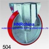 Roter PU-industrieller Hochleistungsschwenker mit doppelter Verschluss-Fußrolle