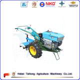 Trattore condotto a piedi della rotella calda di vendita due con il rimorchio, aratro, coltivatore