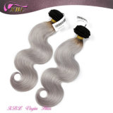 Corpo de cor prata da moda brasileira de onda de cabelo grisalho tecem