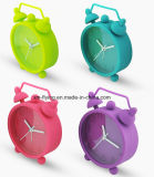 Lovely Round Twin Bell Mute Silicone Quartz Mini Table Despertadores para estudantes