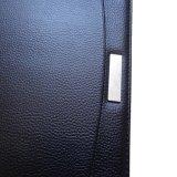 Business A4 Zipper Carnet de dossier en cuir PU avec plaque