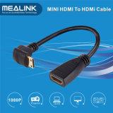 Grado mini HDMI di alta velocità 90 all'adattatore del cavo di HDMI