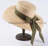Grande plano rasante Chapéu de Palha de ráfia com grande Bowknot (CPHC9003X)